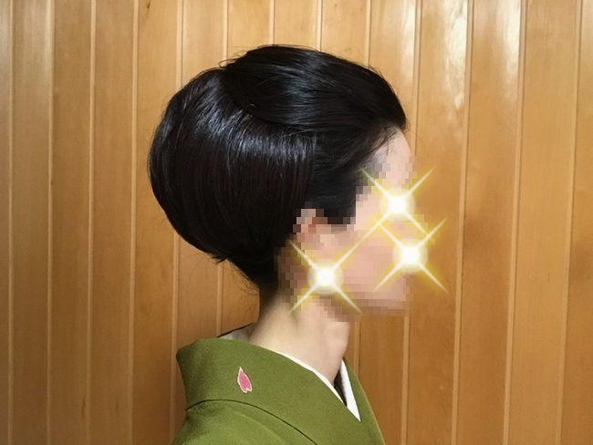 「自分で出来る和髪・着物簡単セルフヘアアレンジ・若見えスタイル」ウイッグ2個使いのセルフヘアアレンジ・右側