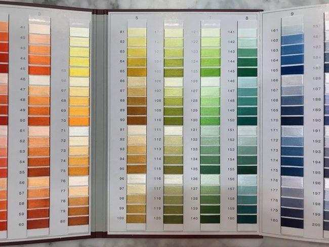 日本刺繍釜糸の色見本帳