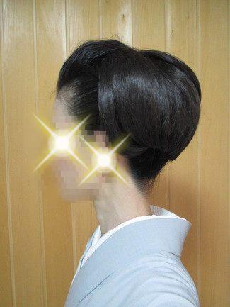 自分で出来る和髪・着物簡単セルフヘアアレンジ・ウイッグ使いスタイル・ボリューム小の左側