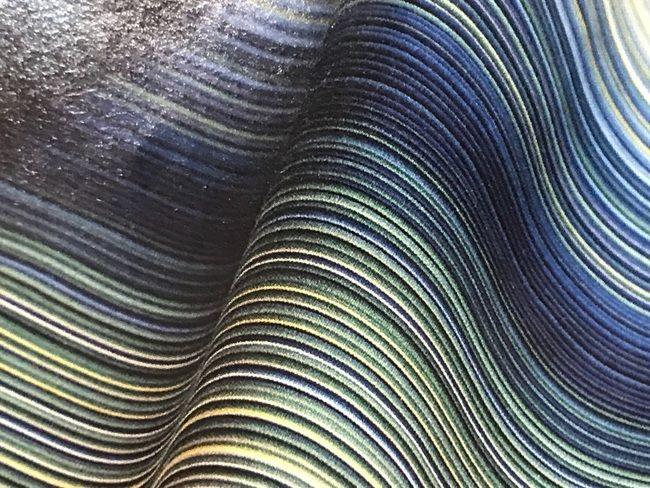 築城則子さんの小倉縞木綿帯・藍、槐、福木の糸色バージョン