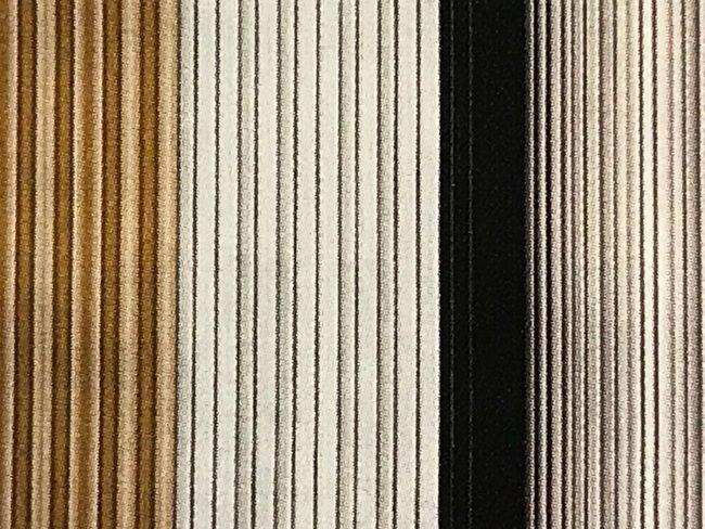 築城則子さんの小倉縞木綿帯・辛子色と黒のグラデーション