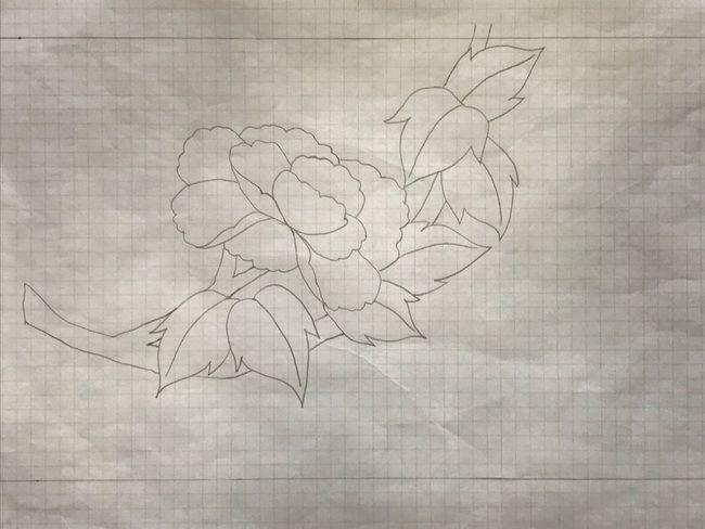 牡丹と蝶の花丸紋の加賀繍の名古屋帯の腹部分の下絵・牡丹の花をひとつに減らした下絵