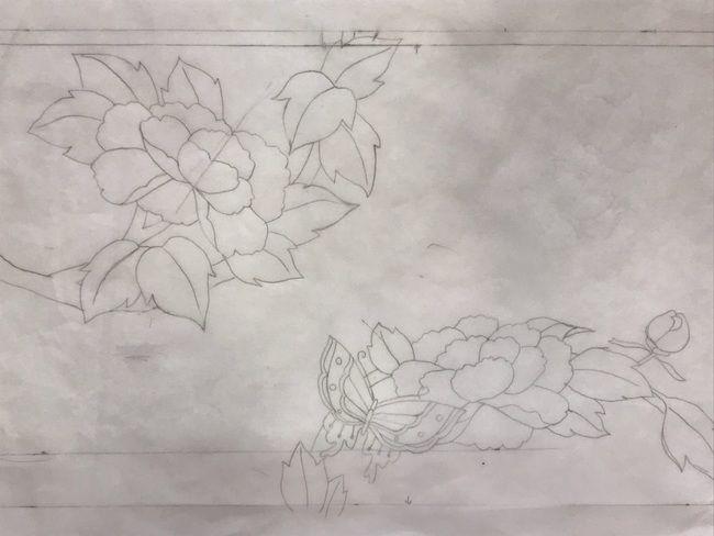 牡丹と蝶の花丸紋の加賀繍の名古屋帯の腹部分の図案・初めに考案した下絵