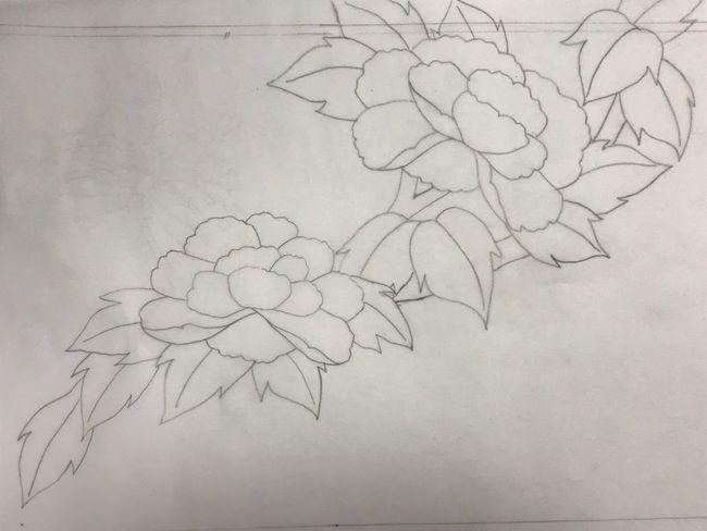 牡丹と蝶の花丸紋の加賀繍の名古屋帯の腹部分の最終形の下絵・斜めに流れ図案②
