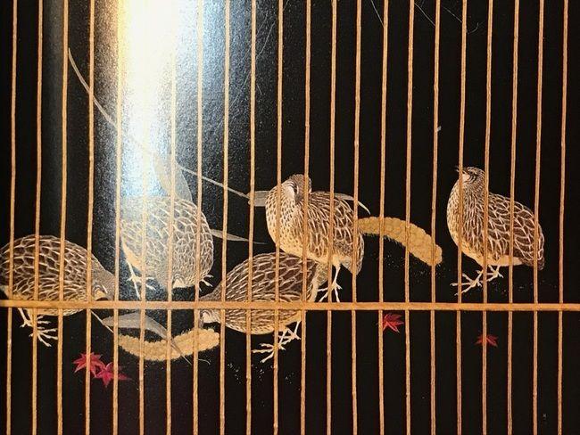 明治の刺繍絵画名品集・「粟穂に鶉図」