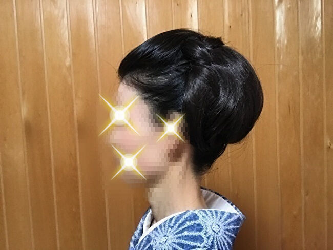 自分で出来る和髪・着物簡単セルフヘアアレンジ・左側スタイル