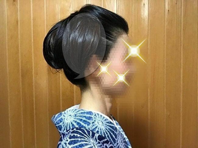 自分で出来る和髪・着物簡単セルフヘアアレンジ・右サイドの地毛部分