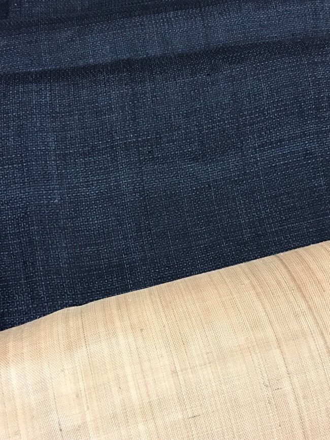 宮古上布「紺上布」の総亀甲絣の着物と芭蕉布の無地九寸名古屋帯